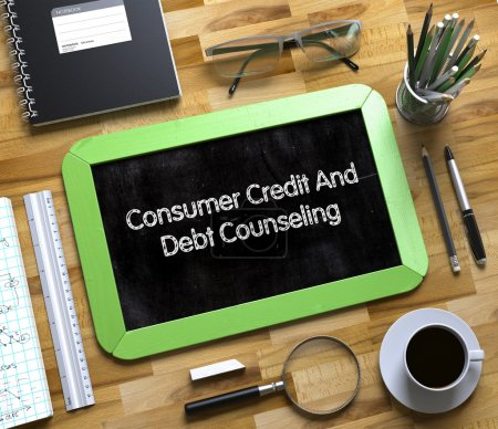 Small Chalkboard with Consumer Credit And Debt Counseling. 3D.