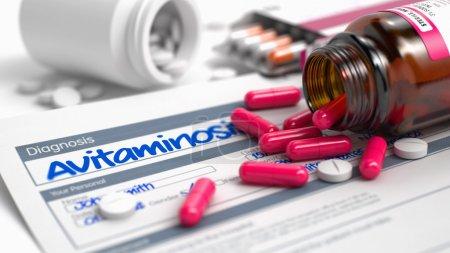 Avitaminosis - Wording in Disease Extract. 3D.