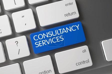 Photo pour Concept de Services de consultance clavier moderne avec des Services de consultance sur bleu entrer dans l'arrière-plan du bouton, sélectionné à vue. illustration 3D. - image libre de droit