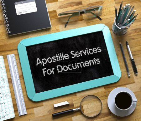 Apostille Services For Documents on Small Chalkboard. 3D.