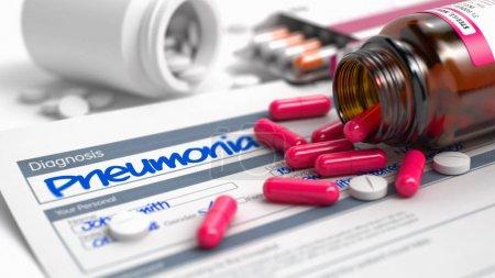 Pneumonia - Wording in Medical History. 3D.