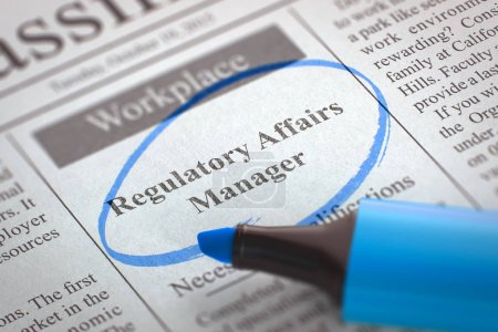 Photo for Newspaper with Advertisements and Classifieds Ads for Vacancy Regulatory Affairs Manager. Blurred Image with Selective focus. Hiring Concept. 3D Render. - Royalty Free Image