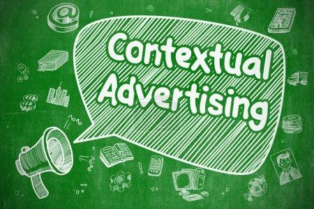 Photo pour Bulle vocale avec phrase Doodle publicitaire contextuel. Illustration sur tableau vert. Concept publicitaire . - image libre de droit