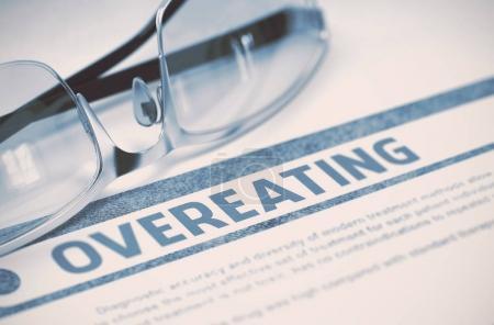 Diagnosis - Overeating. Medicine Concept. 3D Illustration.