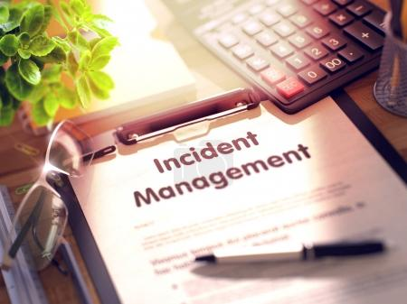 Incident Management - Text on Clipboard. 3d.