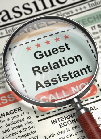Guest Relation Assistant Hiring Now. 3D.