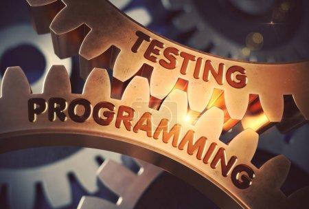 Testing Programming on Golden Cog Gears. 3D Illustration.
