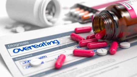 Overeating - Wording in Disease Extract. 3D Render.