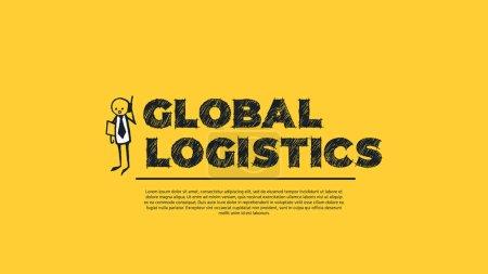 Illustration pour Global Logistics - Conception simple avec bande dessinée Businessman Silhouette isolé sur fond jaune. Illustration for Successful Stories, Positive Inspirations and New Opportunities. Modèle Web - image libre de droit
