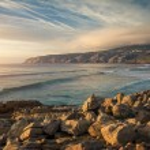 Seascape at Guincho beach and Cascais coastline, P...