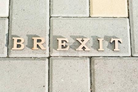 Photo pour Sortie de la Grande-Bretagne de l'Union européenne, Brexit terme abrégé en lettres vintage - image libre de droit