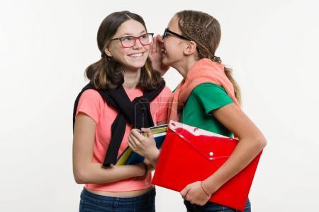 Photo for Happy high school friends are teenage girls, talk and secret. White background with books and notebooks. - Royalty Free Image