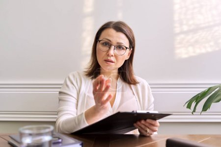Photo for Female psychologist, psychiatrist looking at webcam of digital tablet. Video conference, specialist talking, counseling, helping patient online. Technology, medicine, healthcare, people concept - Royalty Free Image