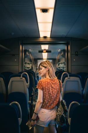 girl  in public transport