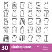 women clothes icons - tops t-shirts blouses