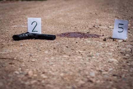 The crime scene, murder, investigation, gun and sh...