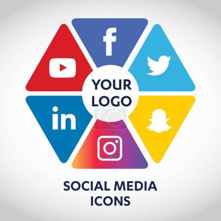 Flat Icons Technologie, Social Media, Netzwerk, Computerkonzept. abstrakter Hintergrund mit Objektgruppe von Elementen. Star-Smiley-Verkauf. teilen, mögen, kommentieren, vektorillustration twitter, youtube, whatsapp, snapchat, facebook, instagram
