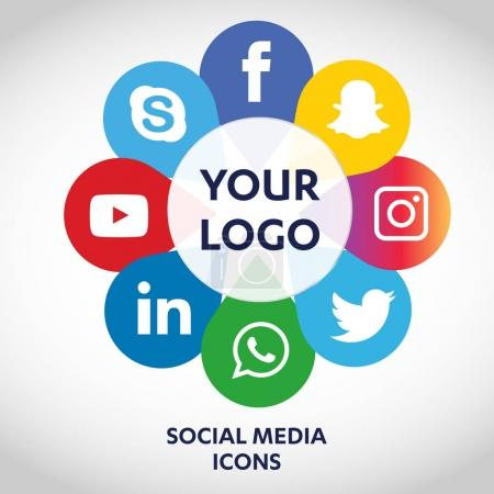 Illustration for Flat icons technology, social media, network, computer concept. Abstract background with objects  group of elements. star smiley face sale. Share, Like, Comment, Vector illustration Twitter, YouTube, WhatsApp, Snapchat, Facebook, instagram - Royalty Free Image