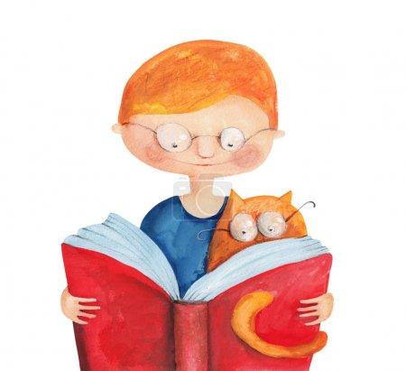Photo pour Mignon petit garçon lecture avec chat, illustration aquarelle - image libre de droit