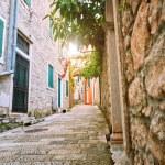 Narrow streets of historical old town Herceg Novi,...