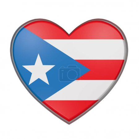 3d rendering of a Puerto Rico flag on a heart. White background