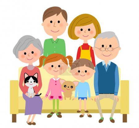 Illustration for An illustration of the family which sits down on a sofa and relaxes. - Royalty Free Image