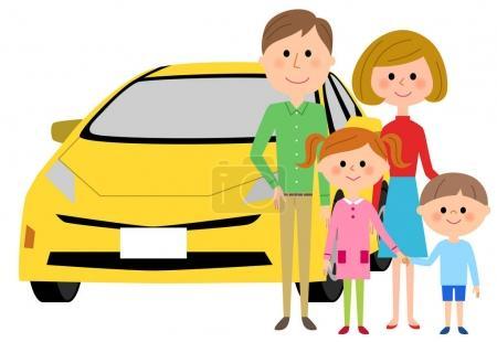Illustration pour C'est une illustration d'une famille et d'une voiture . - image libre de droit