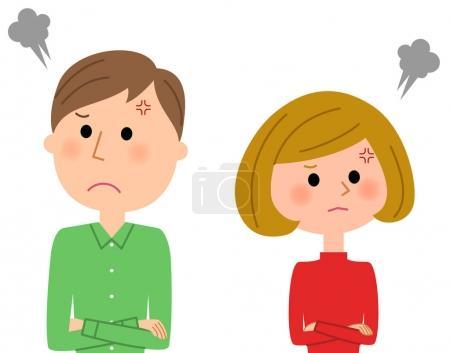 Illustration pour C'est une illustration d'un jeune couple qui se bat . - image libre de droit
