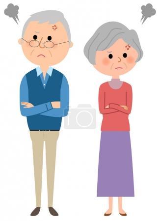 Illustration pour C'est une illustration d'un couple de personnes âgées se battant . - image libre de droit