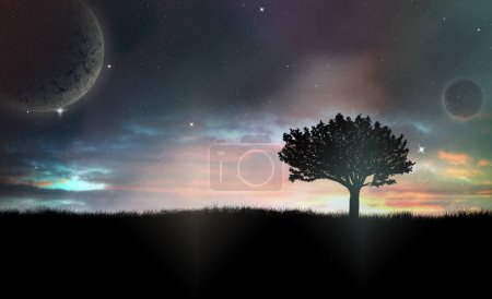 Photo for Raster Illustration of Lonely Tree Silhouette in The Night With Vivid Sky and Abstract Planetes in The Background - Royalty Free Image