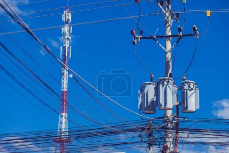 Photo for Messy electric wiring on the pole - Royalty Free Image
