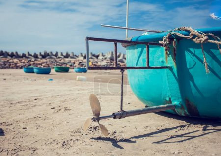 Photo for Tradicional round vietnam boat on the beach - Royalty Free Image