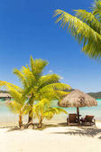 Two sunlounger chairs under a thatched parasol on a sand beach w