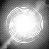 Vector light effect on transparent background Glowing cosmic vortex or super nova with lens flares illustration