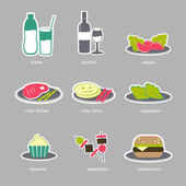 Set of restaurant menu icons. Colorful flat style food icons.