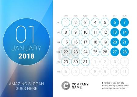 January 2018. Desk Calendar for 2018 Year. Vector Design Print Template with Place for Photo. Week Starts on Monday. Calendar Grid with Week Numbers