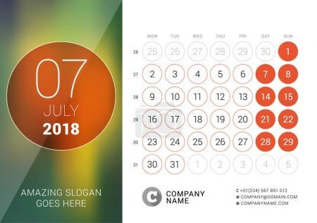 July 2018. Desk Calendar for 2018 Year. Vector Design Print Template with Place for Photo. Week Starts on Monday. Calendar Grid with Week Numbers