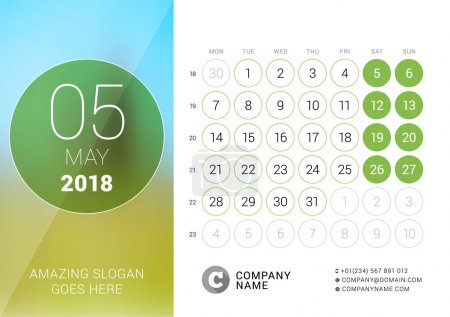 May 2018. Desk Calendar for 2018 Year. Vector Design Print Template with Place for Photo. Week Starts on Monday. Calendar Grid with Week Numbers