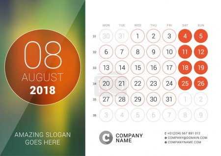 August 2018. Desk Calendar for 2018 Year. Vector Design Print Template with Place for Photo. Week Starts on Monday. Calendar Grid with Week Numbers