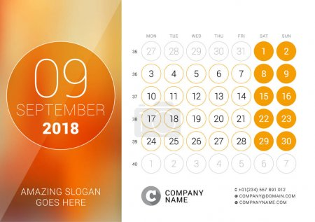 September 2018. Desk Calendar for 2018 Year. Vector Design Print Template with Place for Photo. Week Starts on Monday. Calendar Grid with Week Numbers