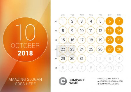 October 2018. Desk Calendar for 2018 Year. Vector Design Print Template with Place for Photo. Week Starts on Monday. Calendar Grid with Week Numbers