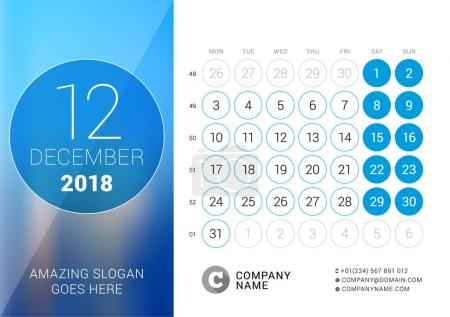 December 2018. Desk Calendar for 2018 Year. Vector Design Print Template with Place for Photo. Week Starts on Monday. Calendar Grid with Week Numbers