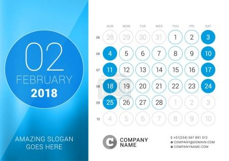 February 2018. Desk Calendar for 2018 Year. Vector Design Print Template. Week Starts on Sunday. Calendar Grid with Week Numbers