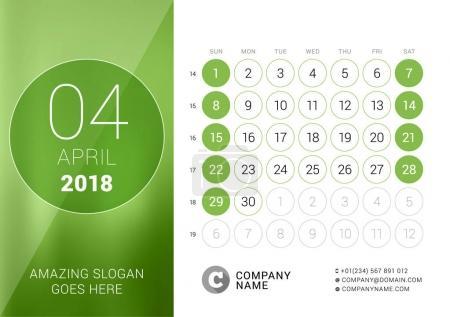 April 2018. Desk Calendar for 2018 Year. Vector Design Print Template. Week Starts on Sunday. Calendar Grid with Week Numbers