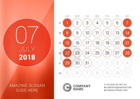 July 2018. Desk Calendar for 2018 Year. Vector Design Print Template. Week Starts on Sunday. Calendar Grid with Week Numbers