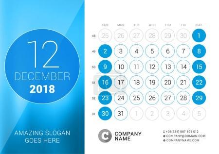 December 2018. Desk Calendar for 2018 Year. Vector Design Print Template. Week Starts on Sunday. Calendar Grid with Week Numbers