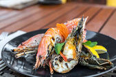 grilled lobster and red crab