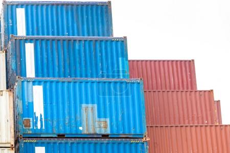 Photo for Cargo Containers Stack at Pier docks - Royalty Free Image