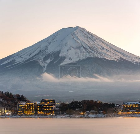 Mountain Fuji with Kawaguchiko lake in sunset
