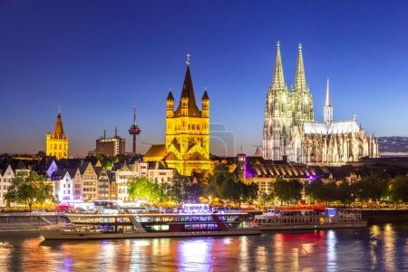 Cologne Cathedral along river rhine in Germany.